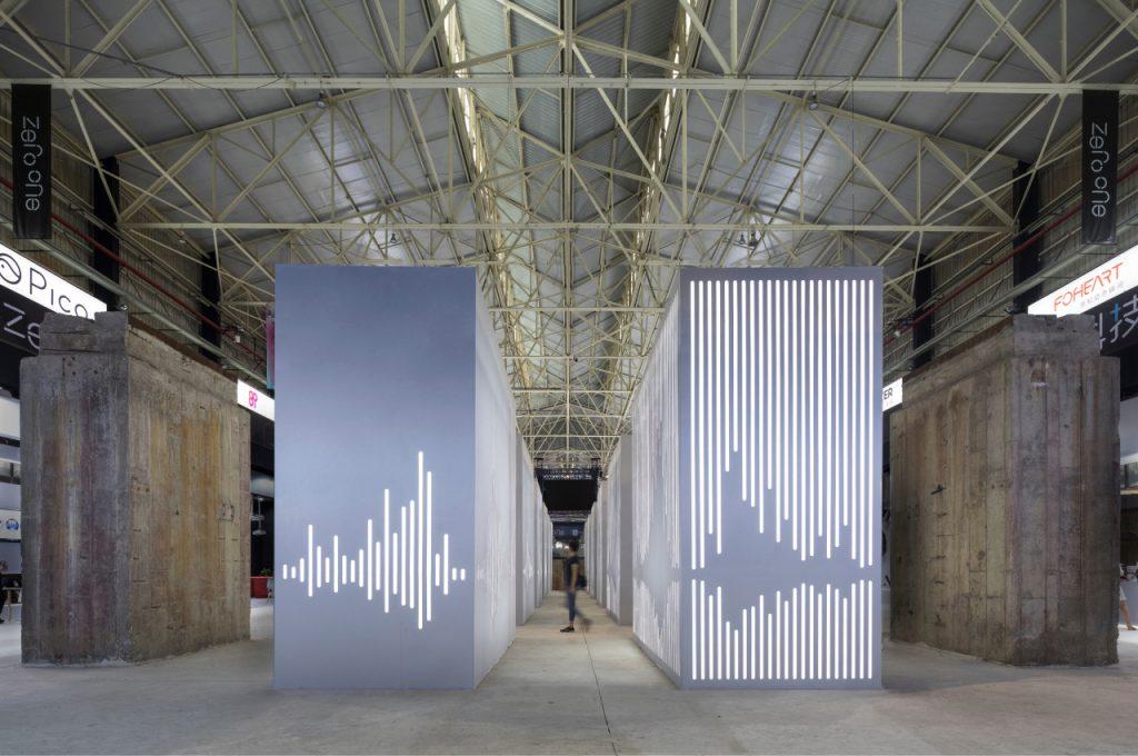 Zero One Tech Festival digital walls with sound waves