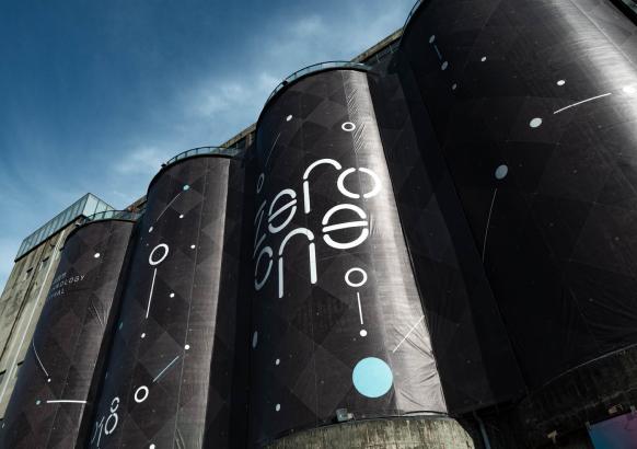 Zero One tech festival banner on an old Shenzhen glass factory