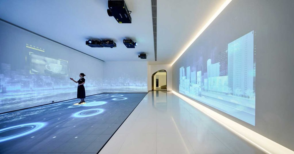 A woman interacting with a virtual wall