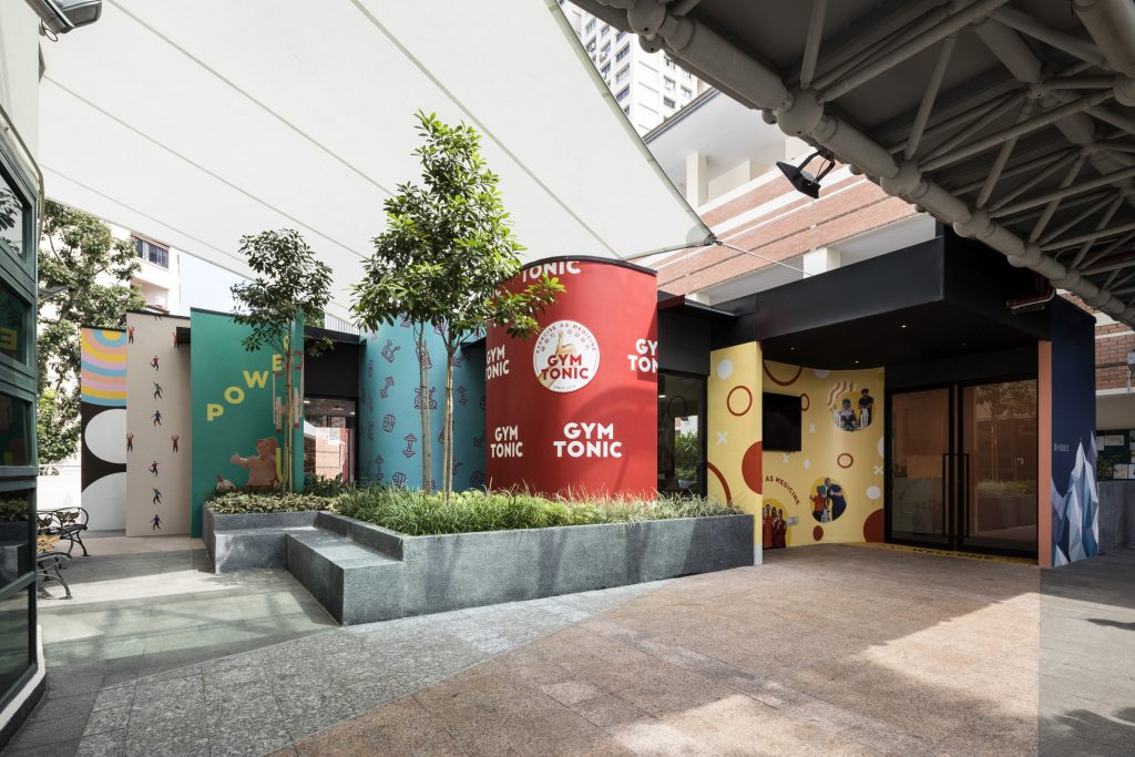 Colourful curved walls are the exterior of Gym Tonic