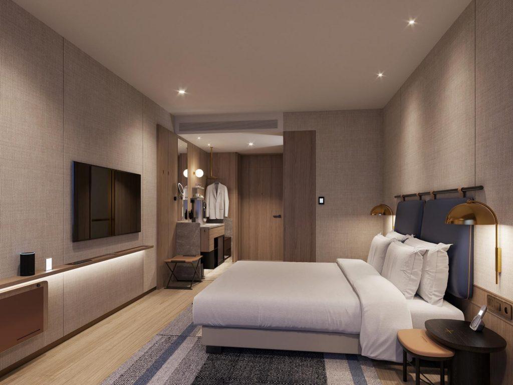 Well-lit hotel room