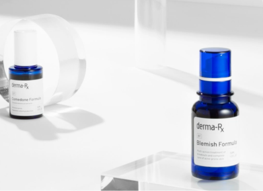 DermaPX blemish formula in a blue bottle