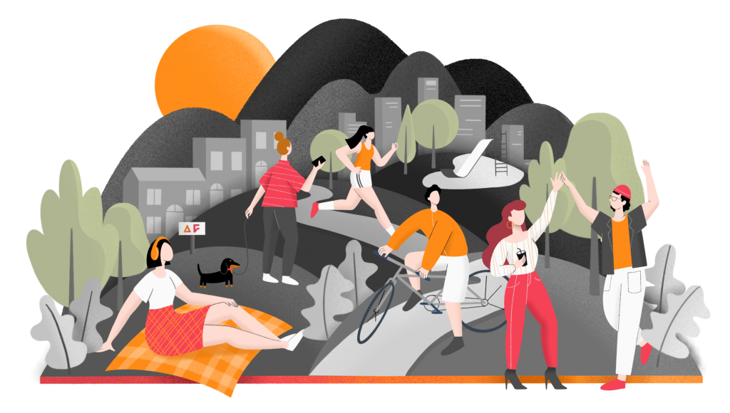 Illustration of people exercising, eating, and walking in park