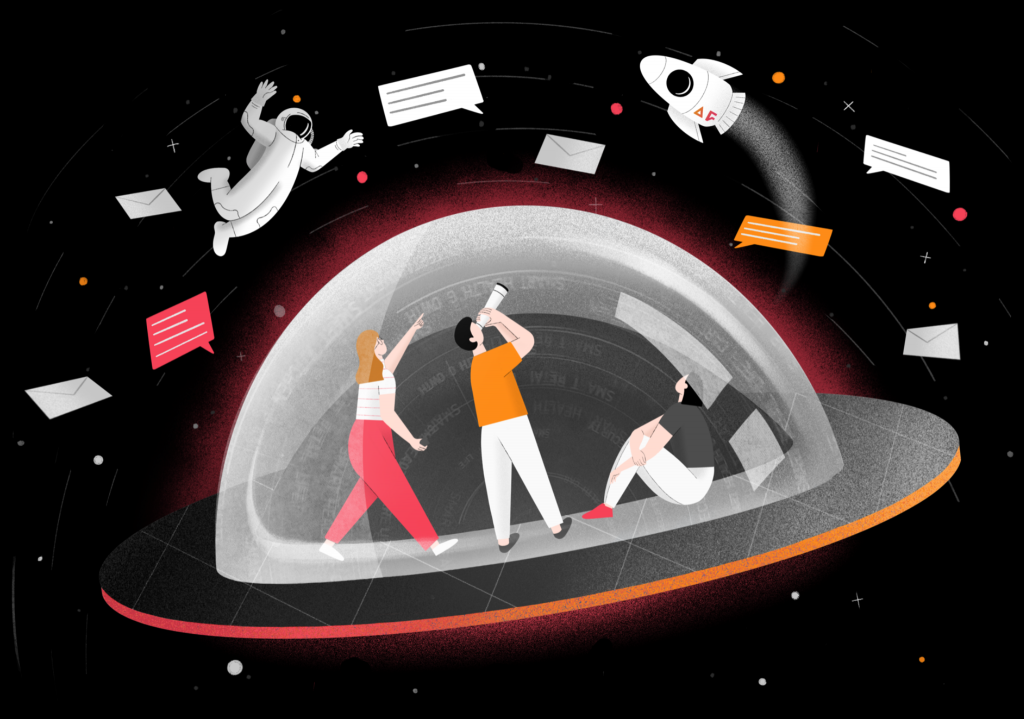 Illustration of people in a spaceship looking at space