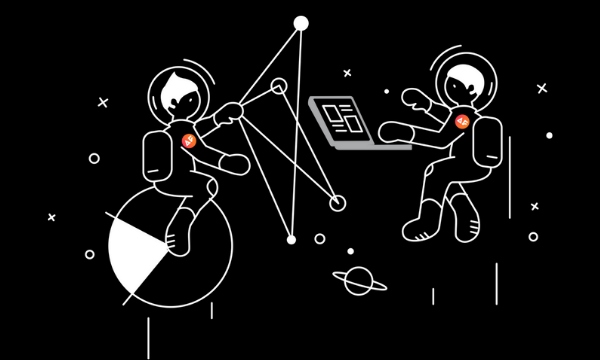Two astronauts working on electronic devices