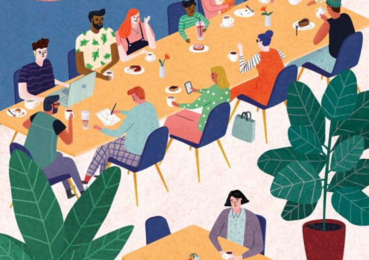 an illustration of people sitting around a table