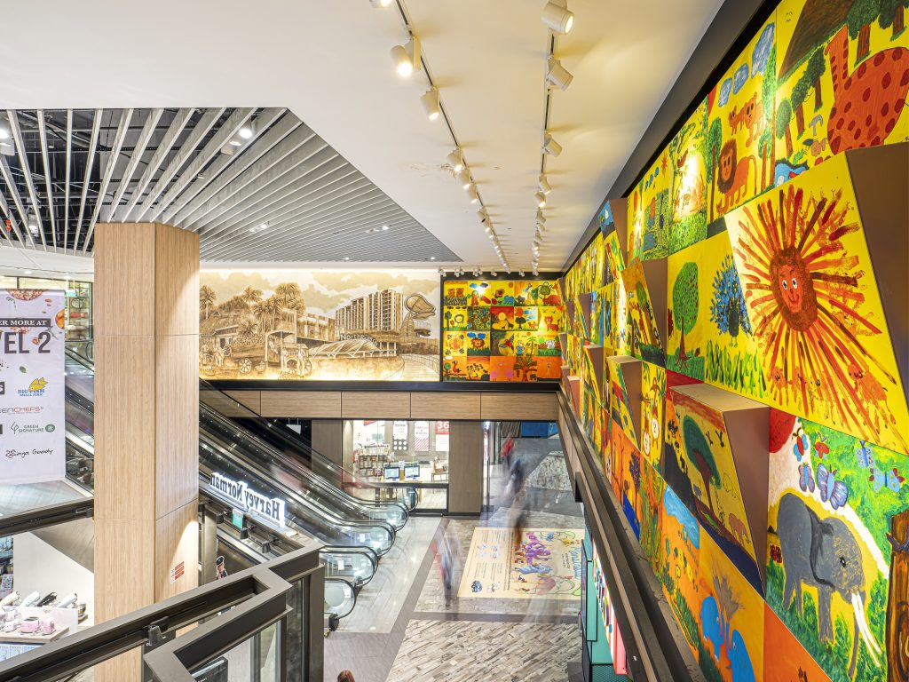A shopping centre with artwork